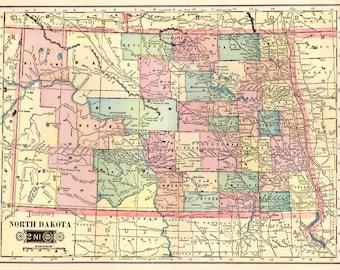 North dakota map Etsy
