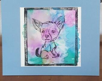 Chihuahua Collagraph Print Wall Art Original Print Chihuahua Custom Portrait