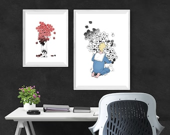 Flower & Child Print Collection. Wall Art. Digital Download. Sketch Print. Modern Poster. Contemporary Apartment Decor.