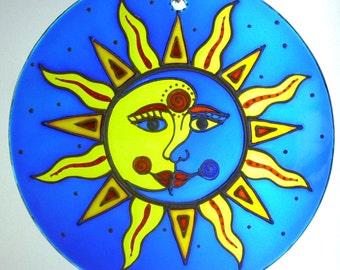 "SUNCATCHER ""Sun & Moon in Love"", Handpainted Glass Ornament for Window, Wedding Gift"