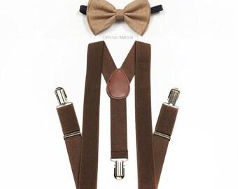 KID'S suspenders, tan bowtie, burlap bow tie, bowtie, brown suspenders, toddler suspenders, suspenders, boys suspenders, brown suspenders