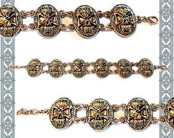 Bracelet Nordic Skull Gilded heraldry skull pirate jewelry Gothic arm Jewellery