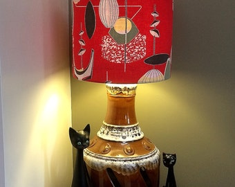 A Very Rockabilly MCM Lampshade in  RED ATOMIC Vintage Barkcloth Fabric