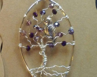 Silver Tree of Life Wire Wrapped Owl Pendant