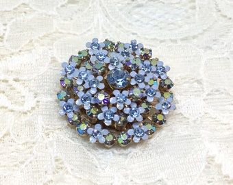 Vintage WEISS AB and Layered Enamel Flower Brooch Pin
