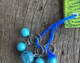 Turquoise and Blue Stitch Markers