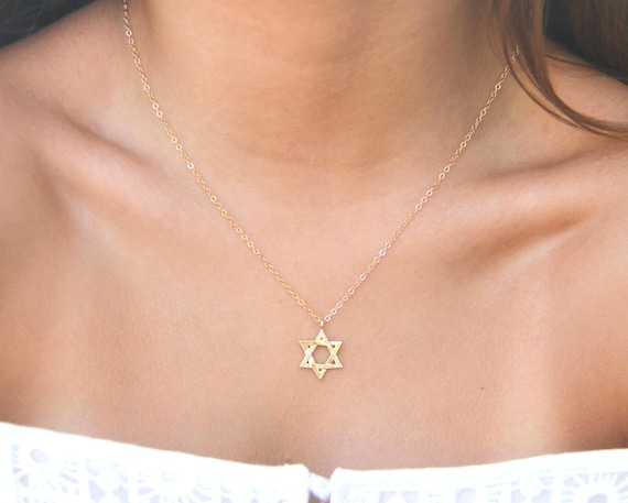 Gold star of david necklace delicate star of david necklace like this item aloadofball Images