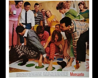 VIntage Twister Game Ad Fun in the 60s.  Adult Twister Party.  Famed goofy game Color Spots and Odd Touching Game Room 13x10 Ready Frame