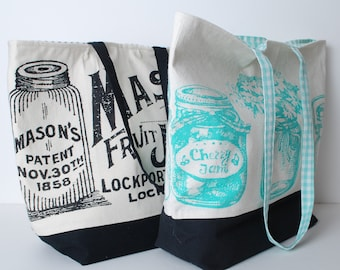 Made in Connecticut Vintage Style Mason Jar Graphic Tote Bag or Purse in Black or Turquoise