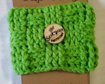 Hand crocheted coffee cup cozy. . .  Lime green