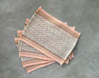 Vintage Woven Placemats | Peach | Orange | Taupe | Opal | Set of 4