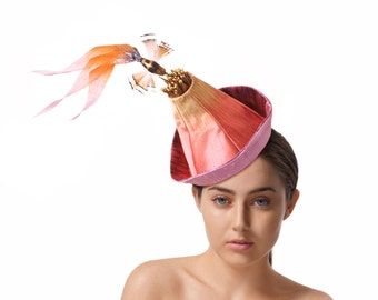 Raw Silk Fascinator, Pink Races Hat