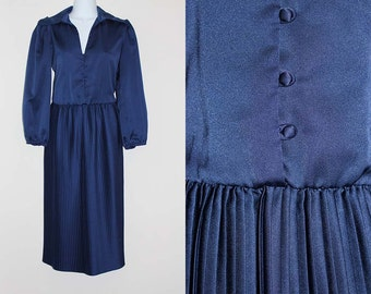 Vintage 1970s Ayres Navy Blue Pleated Dress