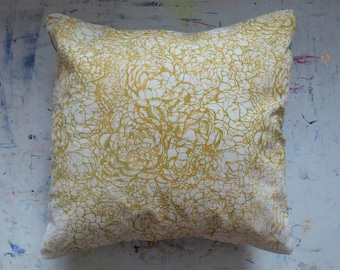 Layered succulent hand screen printed green and yellow cushion cover