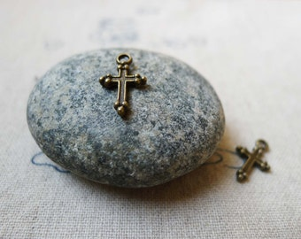50 pcs of Antique Bronze Lovey Cross Charms Double Sided 7x11mm A5482