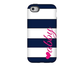 iPhone case, Navy Signature, Personalized iPhone 8, iPhone 7, iPhone 6 Tin Tree Gifts Monogram Gift for Women