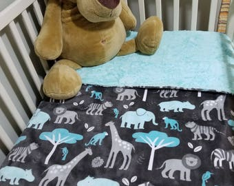 Doudou Minky Zoo friends on grey