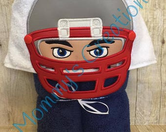 "Football Player Applique Hooded Bath Towel, Beach Towel Cover Up 30"" x 54""  Made with your teams colors!!  Personalization Available"
