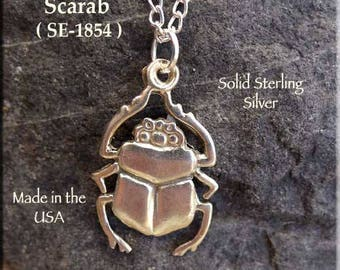 Sterling Silver Scarab Pendant, Egyptian Beetle Necklace, Egyptian Jewelry - SE-1854