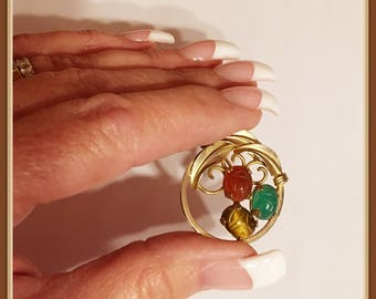 Scarab Brooch, by Burt Cassell, 1/20 12 KT, 3 Stones, Vintage 1953 early 1960's