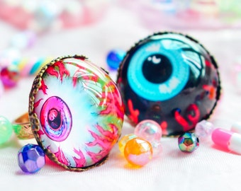Harajuku, Creepy Cute, Pastel Goth, Dreamy Unicorn, Yume Kawaii, Yami Kawaii Eyeball Rings