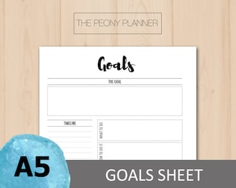 Printable   GOALS Planner Insert   A5 Size   Daily, Weekly, Monthly Goals and Resolutions   Filofax, Kikki K Planners