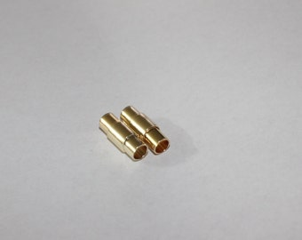 5 Sets Gold Magnetic Clasp (15x5,7mm) - Round Magnetic Clasp Gold Tone - Hole size is 4mm, PLS10
