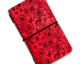 Flowers and butterflies engraved notebook with elastic band personalize notebook travel  handmade notebook blank pages leather notebook