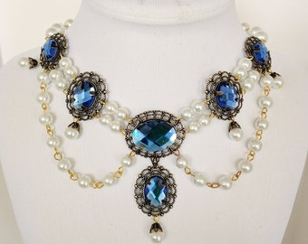 Renaissance Necklace, Medieval Necklace, Tudor Necklace, Medieval Jewelry, Renaissance Jewelry, Blue Faceted Crystals,  Ready to Ship
