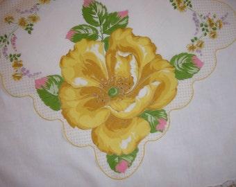 Vintage White Hanky with Yellow Flowers - Hankie Handkerchief
