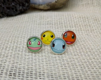 Pokemon Inspired Earrings, Charmander earrings, squirtle earrings, pikachu earrings, bulbasaur earrings