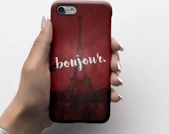 Bonjour Paris Eiffel Tower Durable Hard Plastic Phone Cover For iPhone 6, iPhone 7, Samsung Galaxy S |ID151