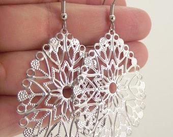 Silver Teardrop Filigree Earrings, Silver Earrings, Elegant Jewelry