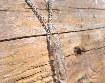 Small Wire Wrapped Quartz Necklace//Silver Plated