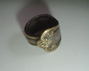 Spoon ring silver plate vintage 1970s UK size J US 4 5/8