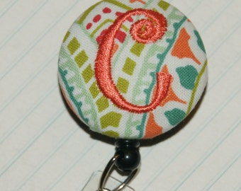 Many fabrics to design YOUR Badge Reel. Monogrammed single letter, #136