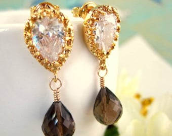 Smokey Quartz gold crystal tear drop earrings, brown quartz gold wedding dangle earrings