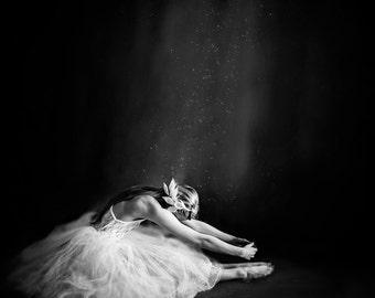 "Fine Art Metallic Print, Ballerina in Black & White, 16"" x 16"" - Ballerina IV"