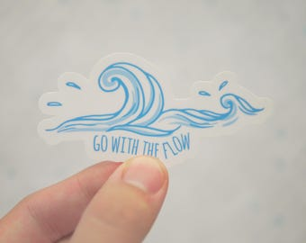 Go With The Flow Sticker - Surfing Stickers - Scuba Stickers - Snorkeling Stickers - Beach Stickers - Shark Stickers - S146