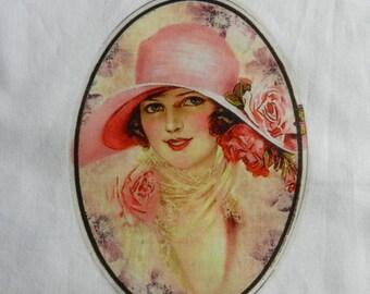 Oval transfer, the elegant Hat Lady