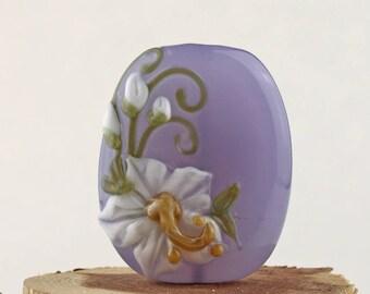Lampwork Glass Focal Purple Crocus White Hibiscus