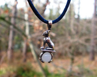 Sterling Silver Cat Pendant With Moonstone