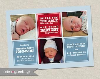 Third Boy Birth Announcement - Printable Digital File