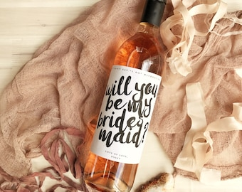 Qty 6 - Will You Be My Bridesmaid Custom Wine Labels - Bridesmaid Gift, Maid of Honor Gift, Bridesmaid Wine Label, Maid of Honor Wine Label