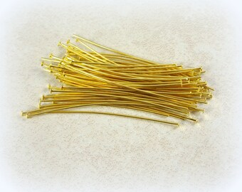 """Straight Headpins - Gold Headpins - 2"""" Golden Brass Head Pins - Gold Plated Head Pins (hp5.0m-G) - Select Qty. from Options"""