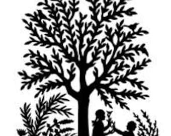 Tree Silhoutte Paper Cutting Style Scherenschnitte - Digital Image - Vintage Art Illustration