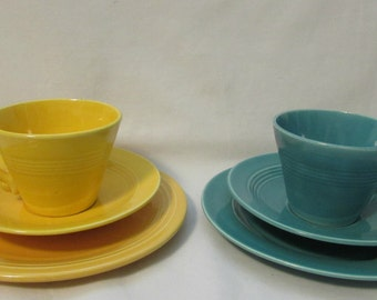 Teacup/Saucer/Cake Plate, Two Sets, One Yellow, One Turquoise, 1950's