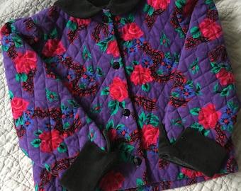 vintage baby girls coat quilted floral velvet toddler jacket