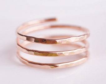 Adjustable ring in 14k rose gold filled - TRINITY (open band) - pregnancy ring - thumb ring