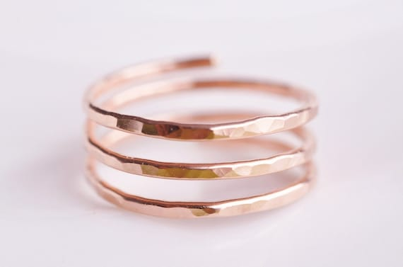 Adjustable ring in 14k rose gold filled TRINITY open band